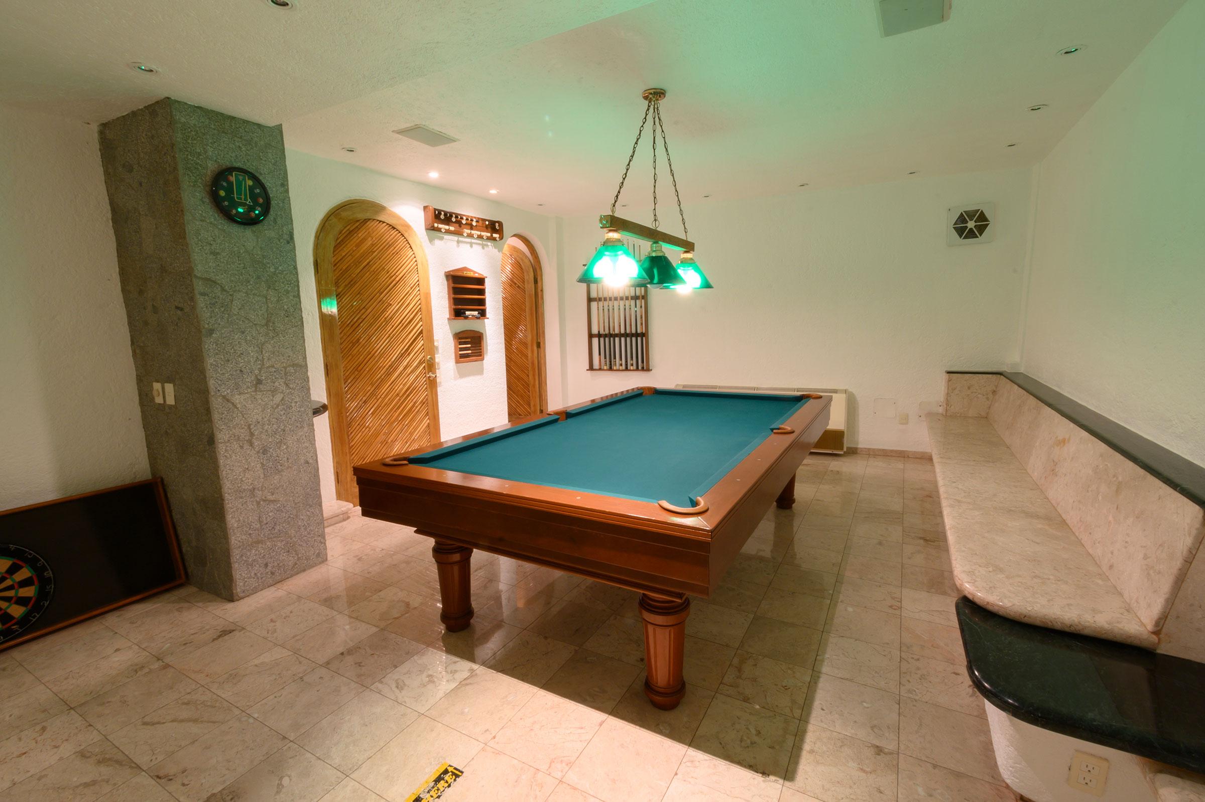 Billiard room at Casa Buenos Aires, Acapulco