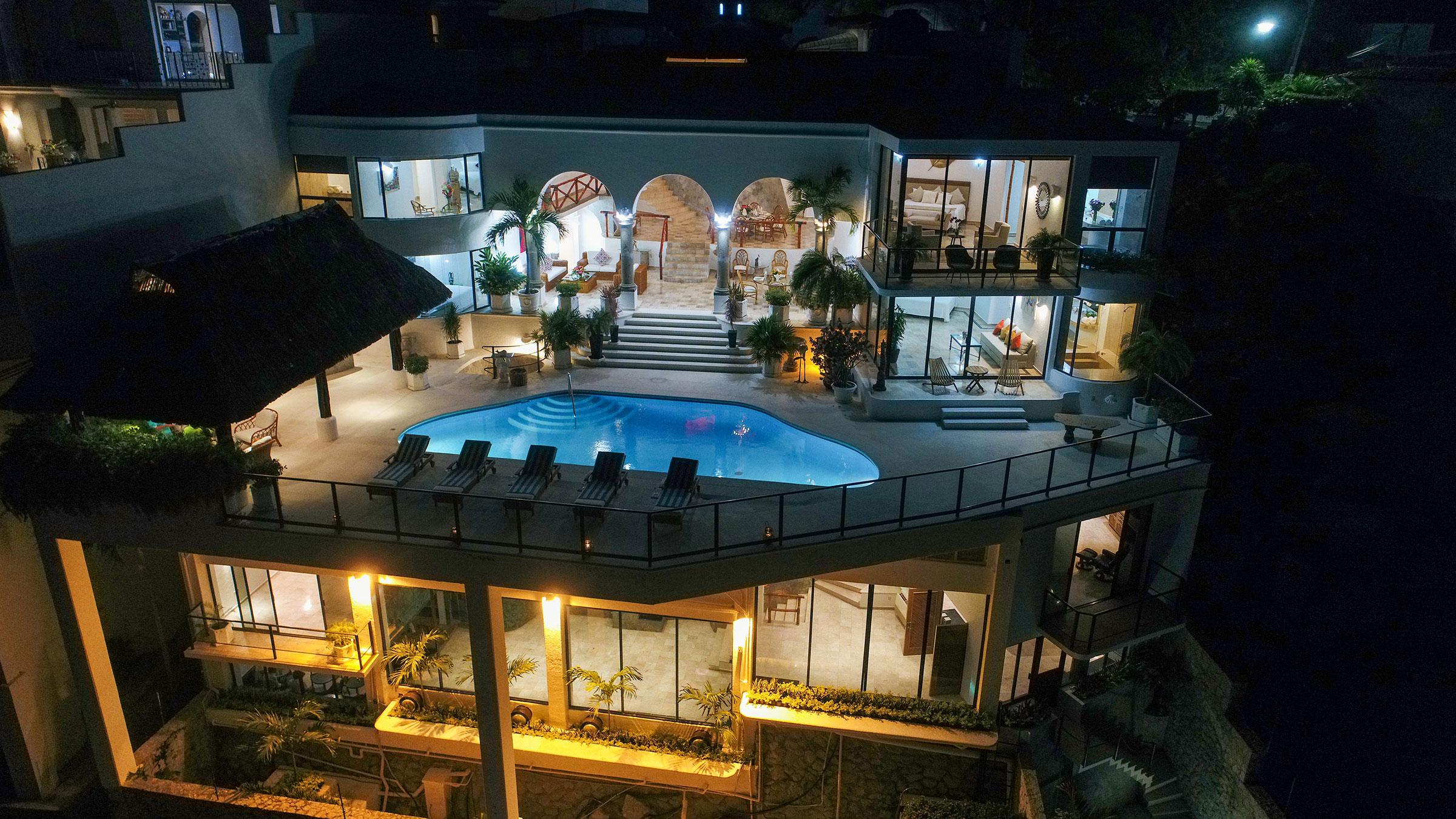 Exterior night at Casa Buenos Aires, Acapulco