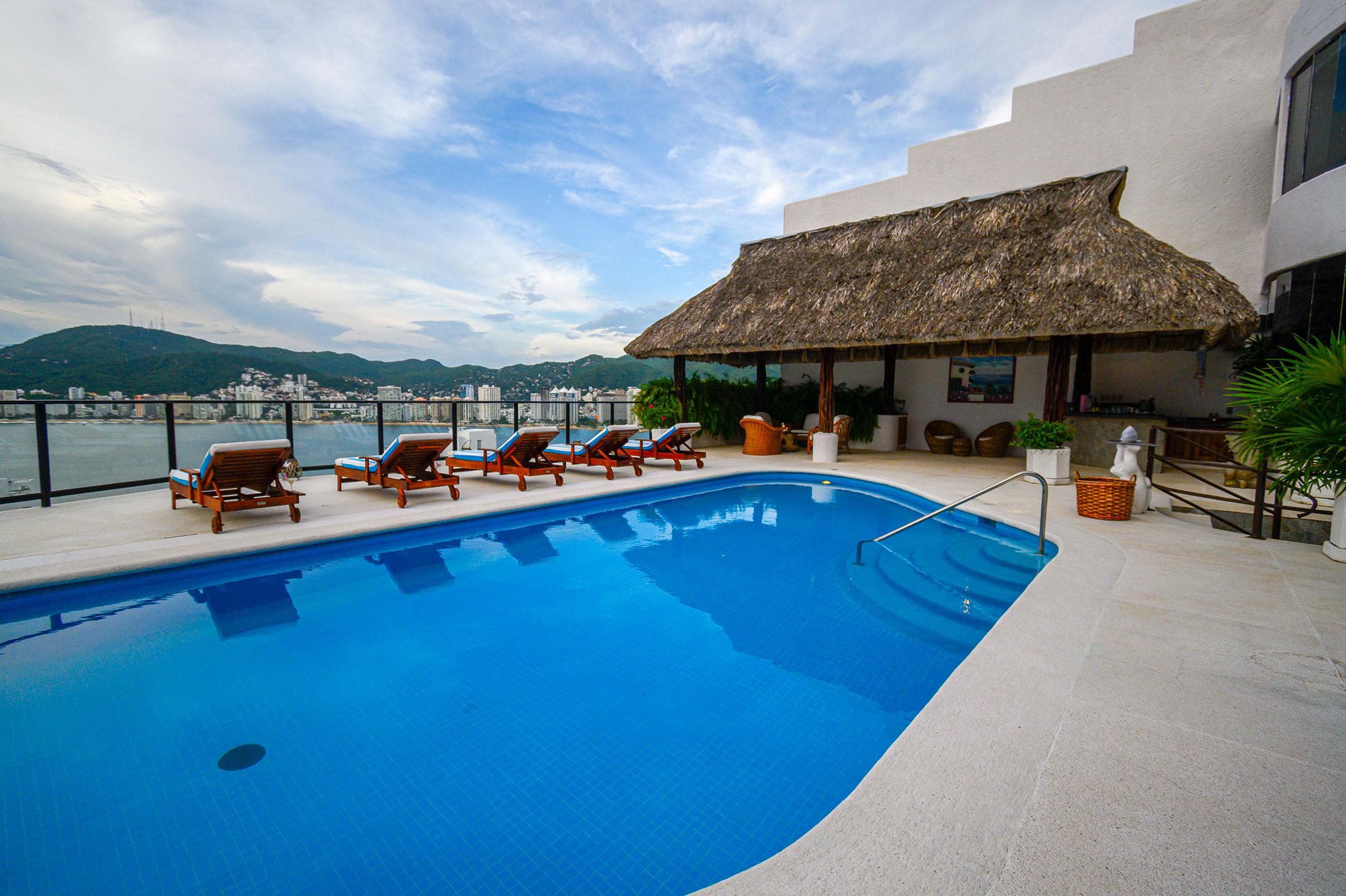Pool area at Casa Buenos Aires, Acapulco